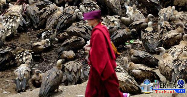 Mengulik Keanehan Tradisi Memberikan Mayat Kepada Burung Pemakan Bangkai di Tibet