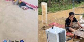 Video Viral Lelaki Tidur di Kasur Saat Banjir, Ternyata Ini Kisah di Baliknya